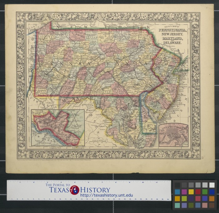 County Map Of Pennsylvania New Jersey Maryland And Delaware