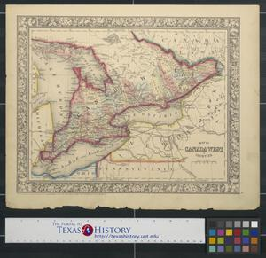Primary view of object titled 'Map of Canada West in counties.'.