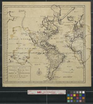 Primary view of Neue Karte des westlichens Theiles der Welt: zur Erläuterung der Seezüge der Niederländer nach Westindien zu folge den neuesten Entdeckungen.