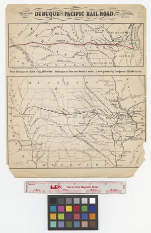 Primary view of object titled 'Map of the Dubuque and Pacific Railroad and its connections.'.