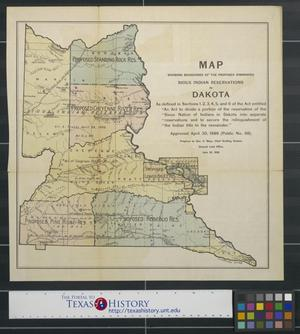Primary view of object titled 'Map showing boundaries of the proposed diminished Sioux Indian Reservations in Dakota.'.