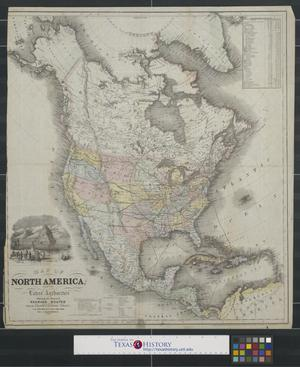 Primary view of object titled 'Map of North America: from the latest authorities showing the proposed railroad routes from the Atlantic to the Pacific Oceans.'.