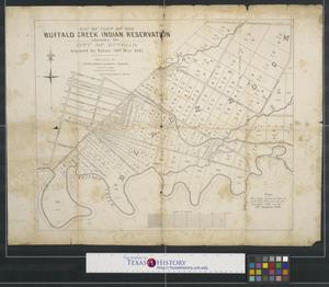 Primary view of object titled 'Map of part of the Buffalo Creek Indian Reservation: adjoining the city of Buffalo acquired by treaty 20th May 1842.'.