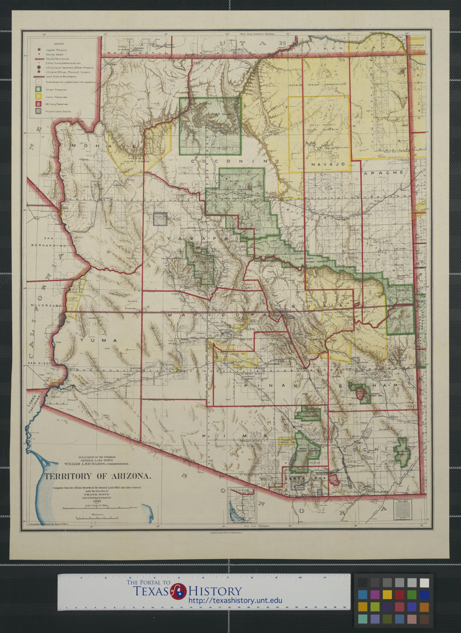 Territory of Arizona. - The Portal to Texas History on general map of georgia, general map of florida, general map of manhattan, general map of idaho, general map of paris,