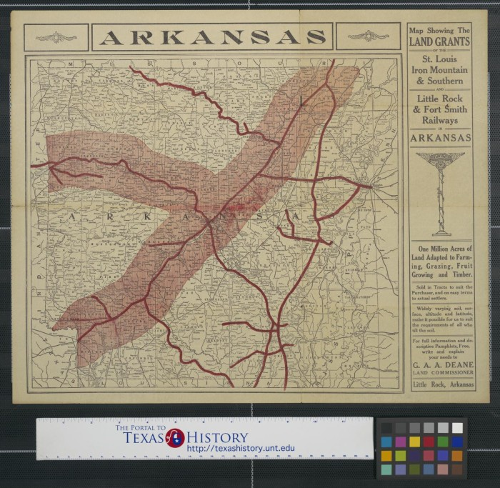 Map Showing The Land Grants Of The St Louis Iron Mountain - Arkansas land ownership maps