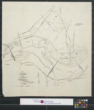 Primary view of object titled 'Map of parts of Jeffersonville, Clarksville, New Albany, Howard Park in Indiana and part of Louisville, Kentucky showing railroads and acre land.'.