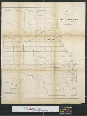 Primary view of object titled 'Map showing the progress of the public surveys in Kansas and Nebraska.'.
