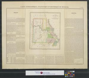 Primary view of Carte géographique, statistique et historique du Missouri.