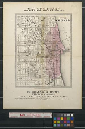 Primary view of object titled 'Map of Chicago, showing the burnt district'.