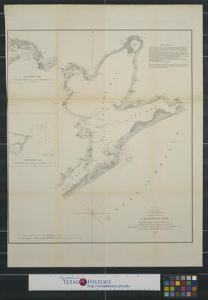 Primary view of object titled 'Preliminary sketch of Galveston Bay indicating proposed sites for light houses as authorized by act of Congress of Mar. 3, 1851.'.