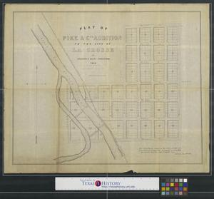 Primary view of object titled 'Plat of Pike & Co's Addition to the city of La Crosse.'.