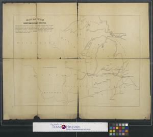 Primary view of object titled 'Map of the northwestern states shewing [sic] what proportion lies north of the parallel of south bend of Lake Michigan.'.