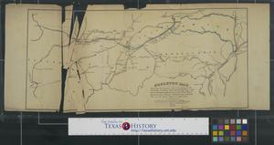 Primary view of object titled 'Skeleton map shewing [sic] the position and connections of the Michigan Southern Rail Road (from Monroe and Toledo to Chigago) with the several great rail road routes to the Atlantic Seaborad and New York City via the South Shore of Lake Erie.'.