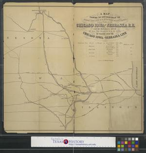 Primary view of object titled 'A map shewing [sic] the continuation of the Dixon Air Line R.R. into the State of Iowa.'.