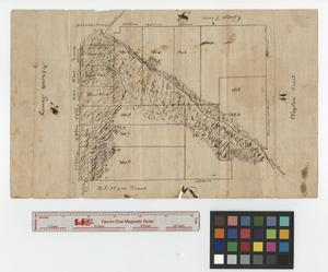 Primary view of object titled '[Map of plat of land along Rush Creek adjacent to Johnson Survey in Tarrant County - Sheet no. 1]'.
