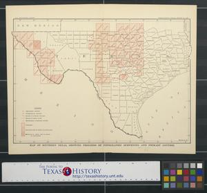 Primary view of object titled 'Map of southern Texas showing progress of topographic surveying and primary control.'.