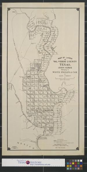Primary view of object titled 'Map of lands in Val Verde County Texas.'.