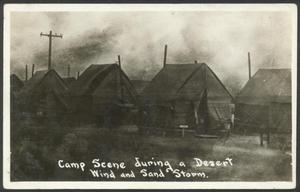 Primary view of object titled '[Camp Scene During a Desert Wind and Sand Storm]'.