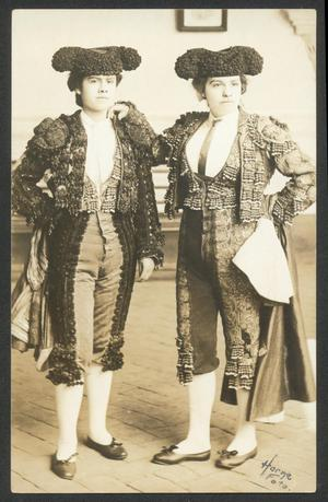 Primary view of object titled '[Two People Dressed in Matador Costume]'.