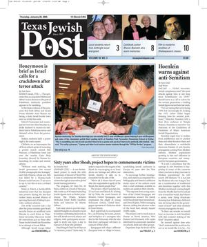 Primary view of object titled 'Texas Jewish Post (Fort Worth, Tex.), Vol. 59, No. 3, Ed. 1 Thursday, January 20, 2005'.