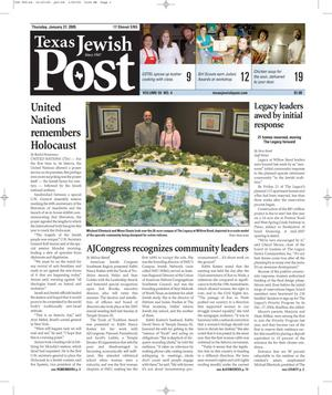 Primary view of object titled 'Texas Jewish Post (Fort Worth, Tex.), Vol. 59, No. 4, Ed. 1 Thursday, January 27, 2005'.