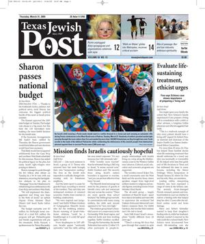 Primary view of object titled 'Texas Jewish Post (Fort Worth, Tex.), Vol. 59, No. 13, Ed. 1 Thursday, March 31, 2005'.