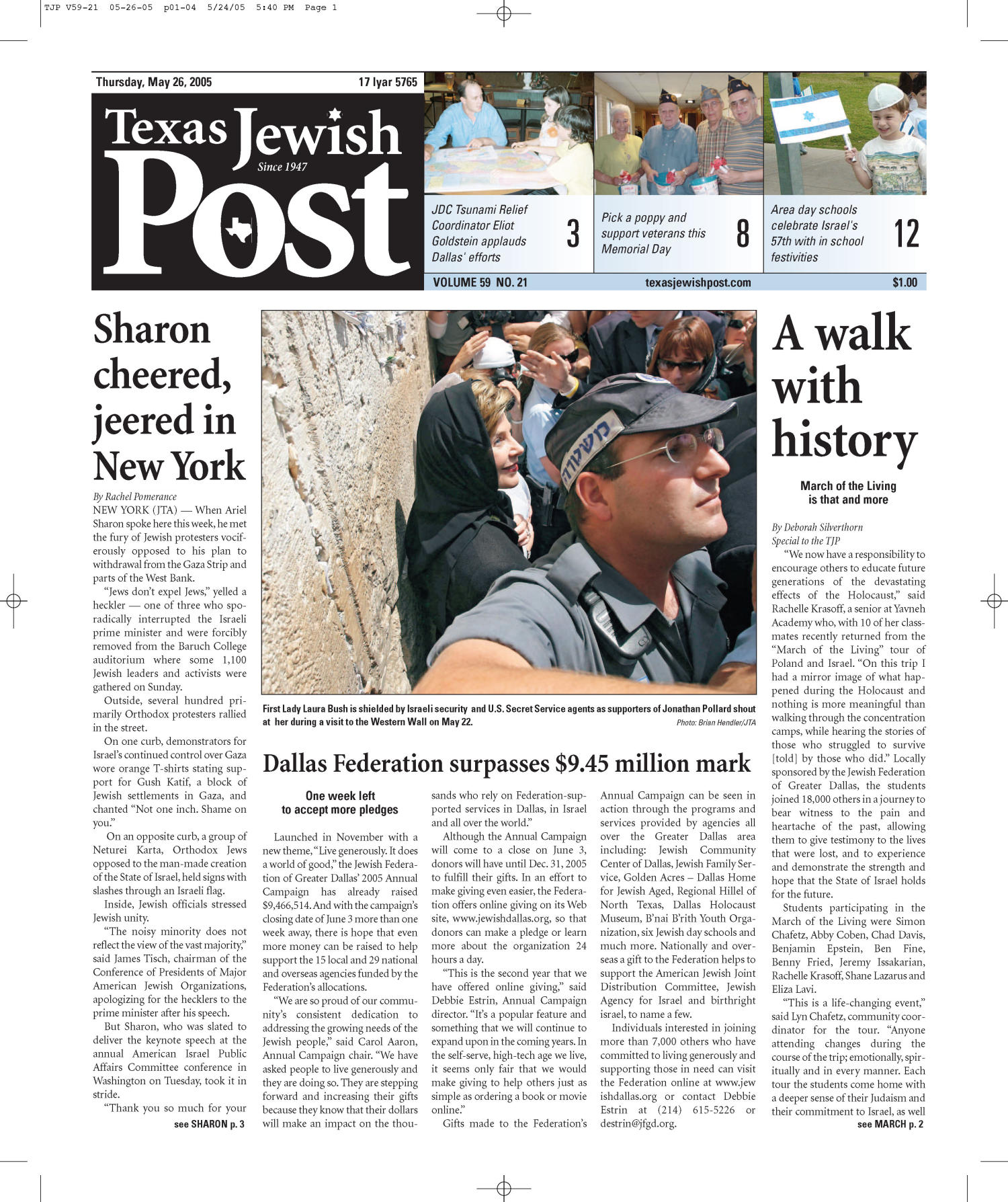 Texas Jewish Post (Fort Worth, Tex.), Vol. 59, No. 21, Ed. 1 Thursday, May 26, 2005                                                                                                      [Sequence #]: 1 of 24