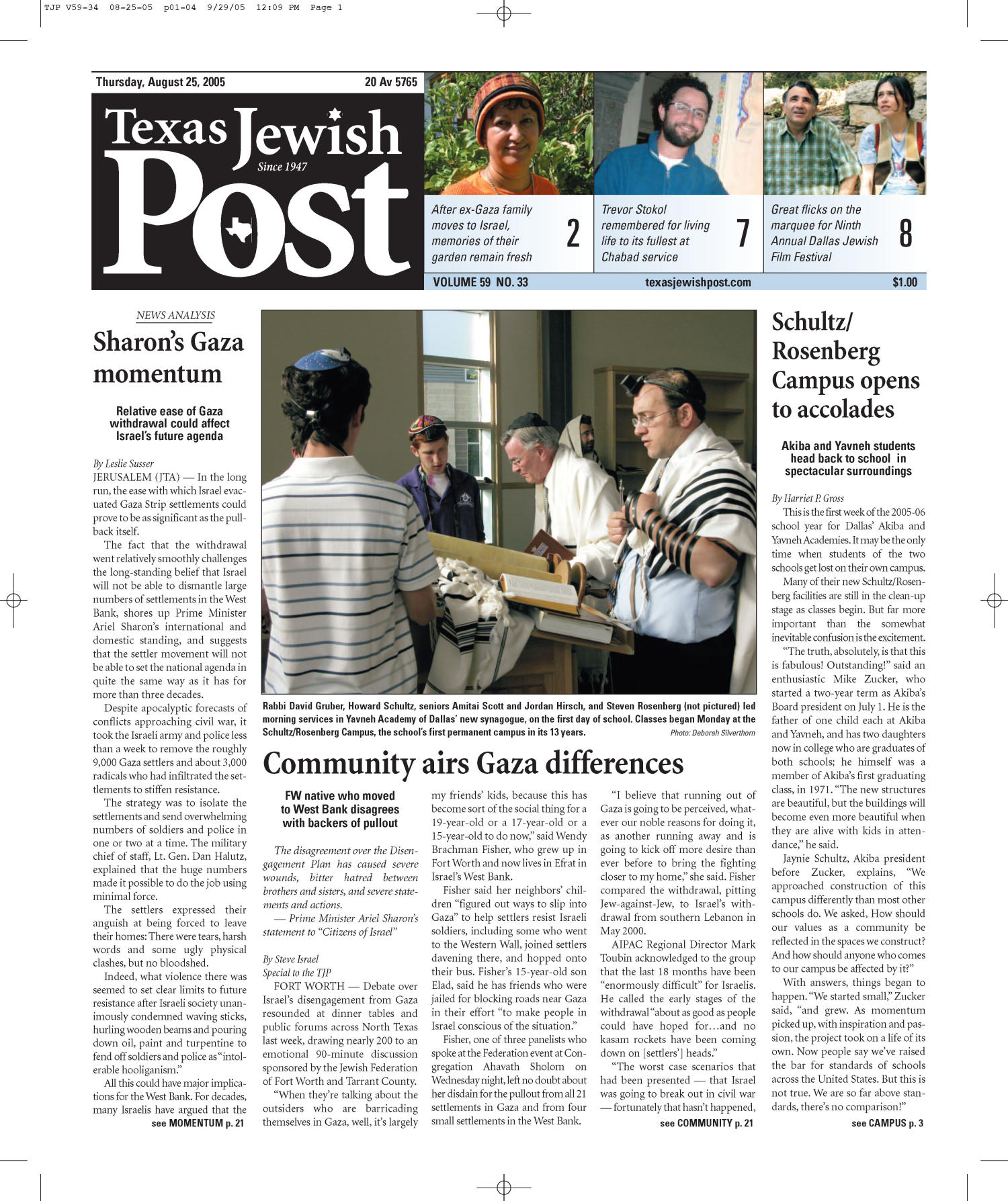 Texas Jewish Post (Fort Worth, Tex.), Vol. 59, No. 34, Ed. 1 Thursday, August 25, 2005                                                                                                      [Sequence #]: 1 of 24