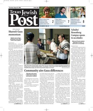 Primary view of object titled 'Texas Jewish Post (Fort Worth, Tex.), Vol. 59, No. 34, Ed. 1 Thursday, August 25, 2005'.