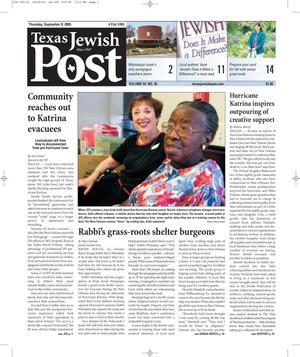 Primary view of object titled 'Texas Jewish Post (Fort Worth, Tex.), Vol. 59, No. 36, Ed. 1 Thursday, September 8, 2005'.