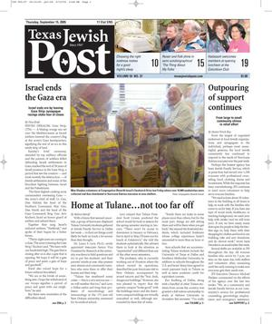 Primary view of object titled 'Texas Jewish Post (Fort Worth, Tex.), Vol. 59, No. 37, Ed. 1 Thursday, September 15, 2005'.