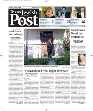Primary view of object titled 'Texas Jewish Post (Fort Worth, Tex.), Vol. 59, No. 41, Ed. 1 Thursday, October 13, 2005'.