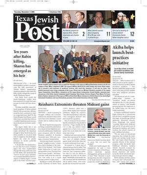 Texas Jewish Post (Fort Worth, Tex.), Vol. 59, No. 44, Ed. 1 Thursday, November 3, 2005