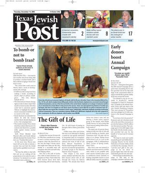 Primary view of object titled 'Texas Jewish Post (Fort Worth, Tex.), Vol. 59, No. 50, Ed. 1 Thursday, December 15, 2005'.