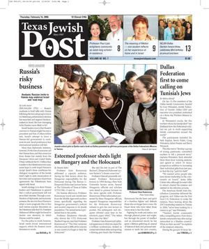Primary view of object titled 'Texas Jewish Post (Fort Worth, Tex.), Vol. 60, No. 7, Ed. 1 Thursday, February 16, 2006'.