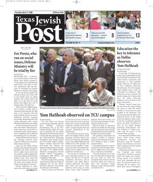 Primary view of object titled 'Texas Jewish Post (Fort Worth, Tex.), Vol. 60, No. 17, Ed. 1 Thursday, April 27, 2006'.