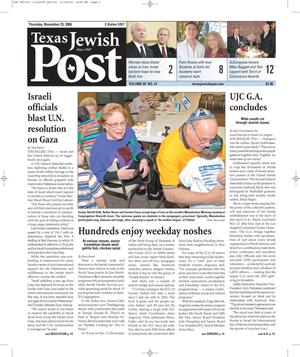 Primary view of object titled 'Texas Jewish Post (Fort Worth, Tex.), Vol. 60, No. 47, Ed. 1 Thursday, November 23, 2006'.