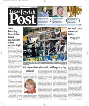 Primary view of object titled 'Texas Jewish Post (Fort Worth, Tex.), Vol. 61, No. 5, Ed. 1 Thursday, February 1, 2007'.