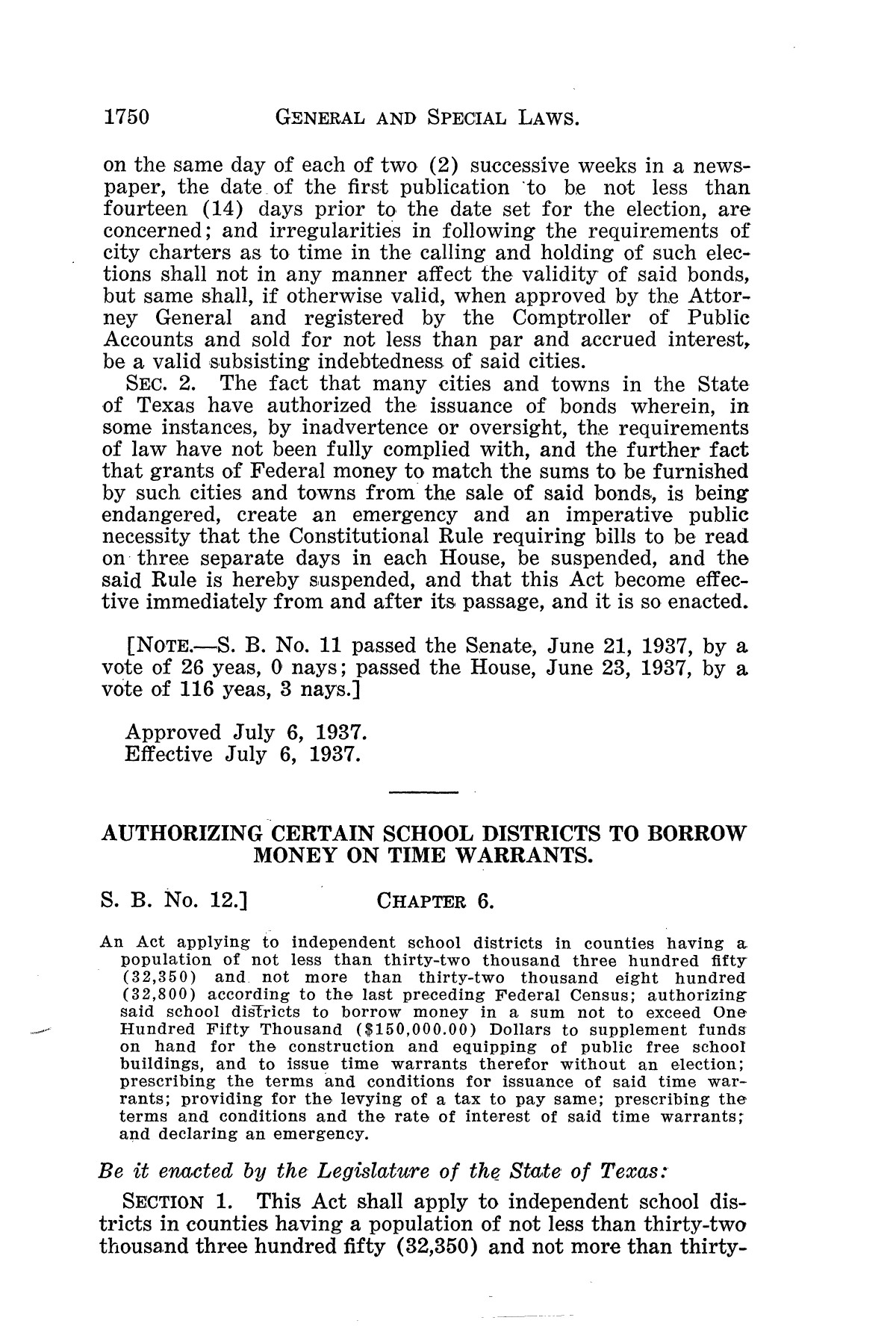 The Laws of Texas, 1937-1939 [Volume 31]                                                                                                      [Sequence #]: 22 of 1313