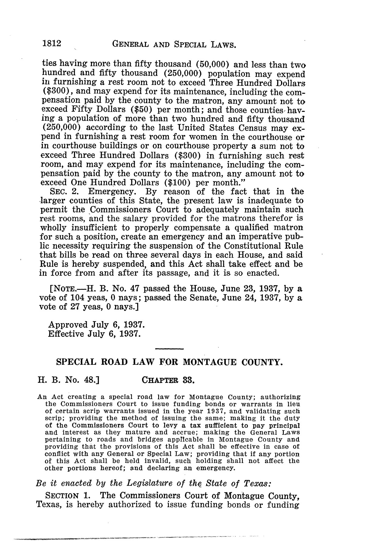 The Laws of Texas, 1937-1939 [Volume 31]                                                                                                      [Sequence #]: 84 of 1313