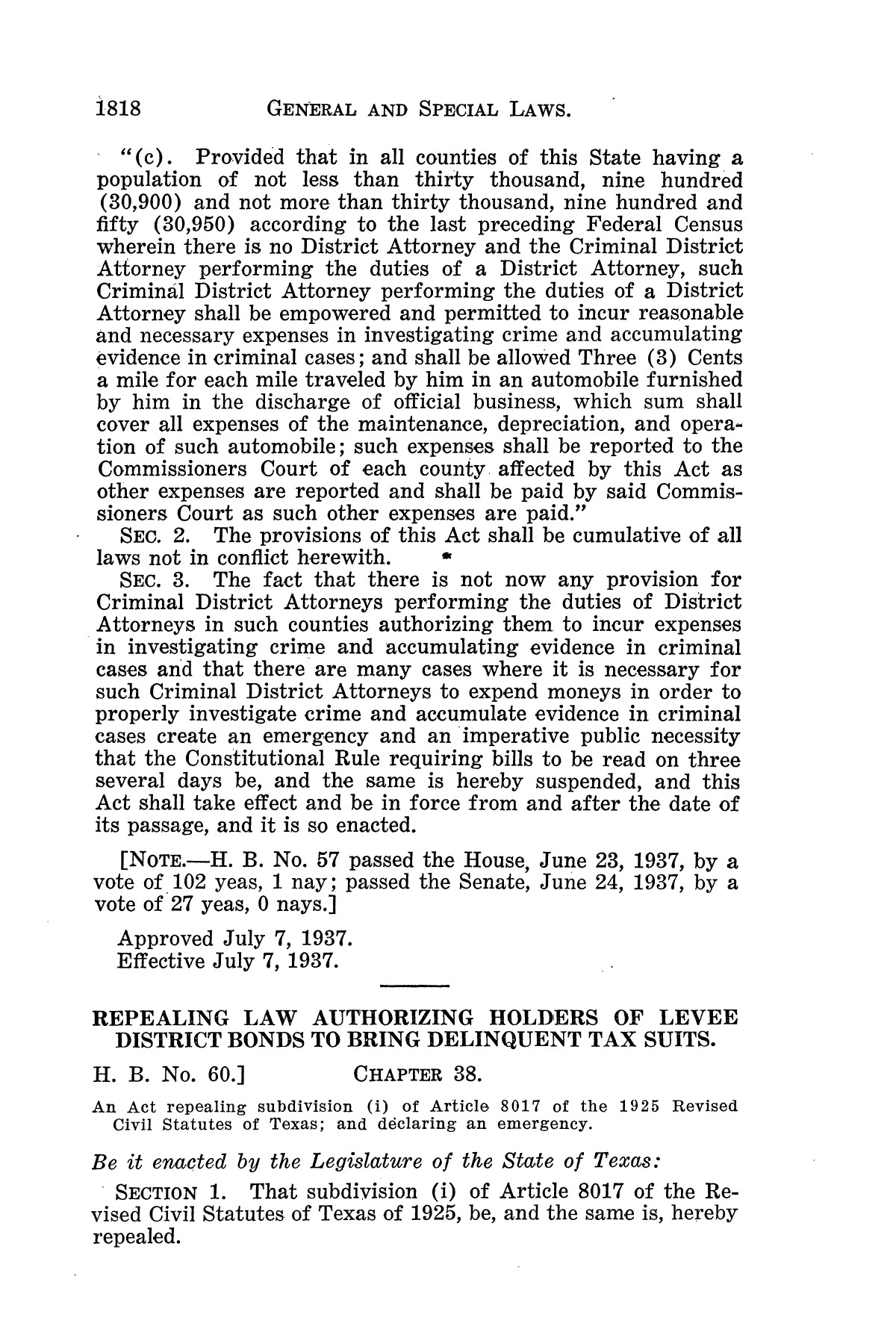 The Laws of Texas, 1937-1939 [Volume 31]                                                                                                      [Sequence #]: 90 of 1313