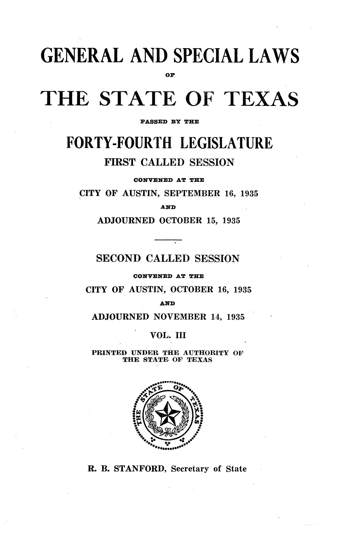 The Laws of Texas, 1935-1937 [Volume 30]                                                                                                      [Sequence #]: 3 of 2460