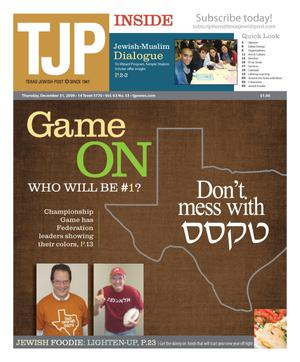 Primary view of object titled 'Texas Jewish Post (Fort Worth, Tex.), Vol. 63, No. 53, Ed. 1 Thursday, December 31, 2009'.