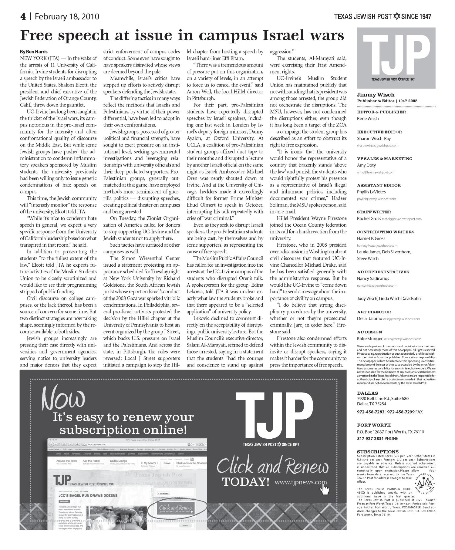 Texas Jewish Post (Fort Worth, Tex.), Vol. 64, No. 7, Ed. 1 Thursday, February 18, 2010                                                                                                      [Sequence #]: 4 of 28