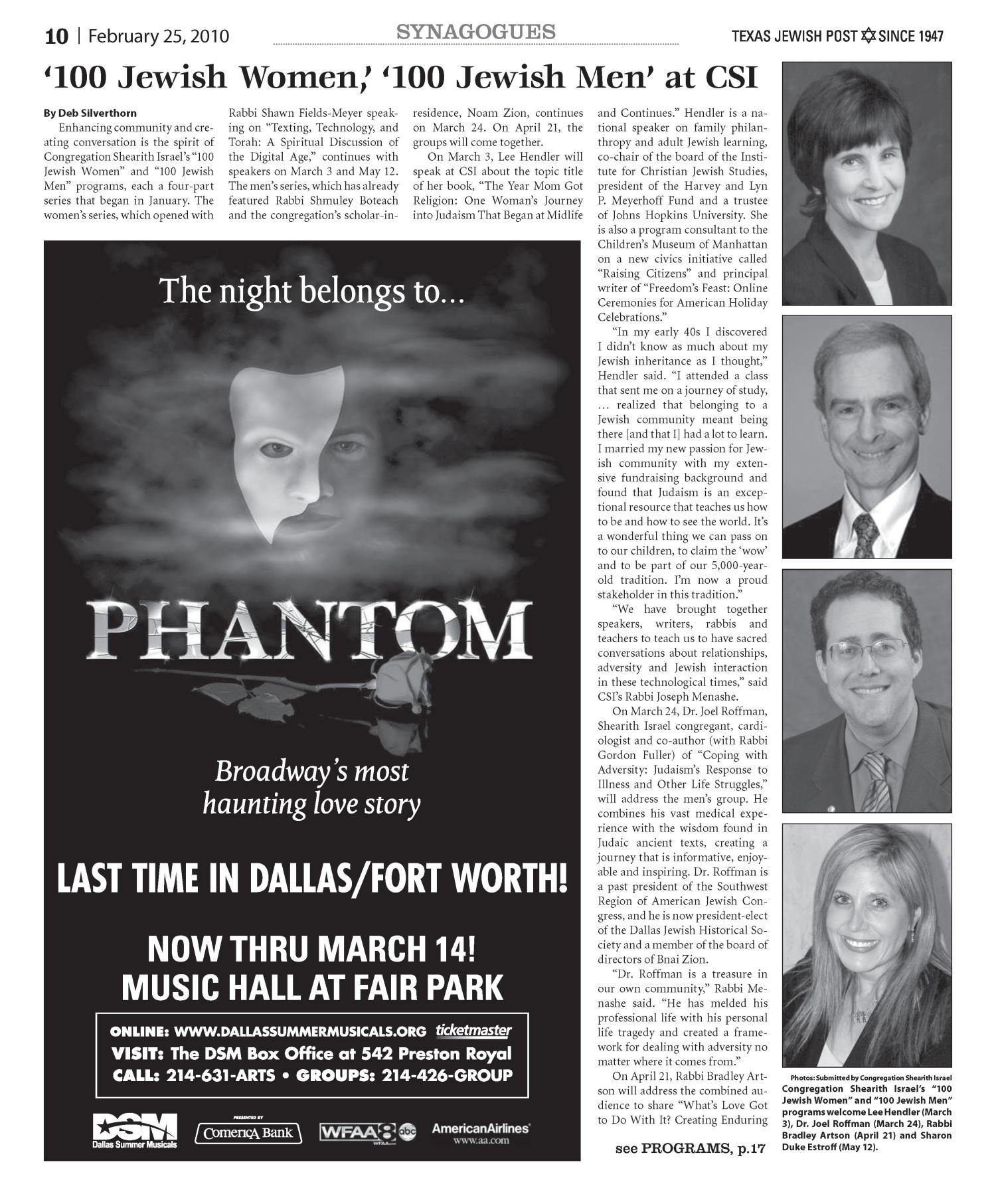 Texas Jewish Post (Fort Worth, Tex.), Vol. 64, No. 8, Ed. 1 Thursday, February 25, 2010                                                                                                      [Sequence #]: 10 of 28