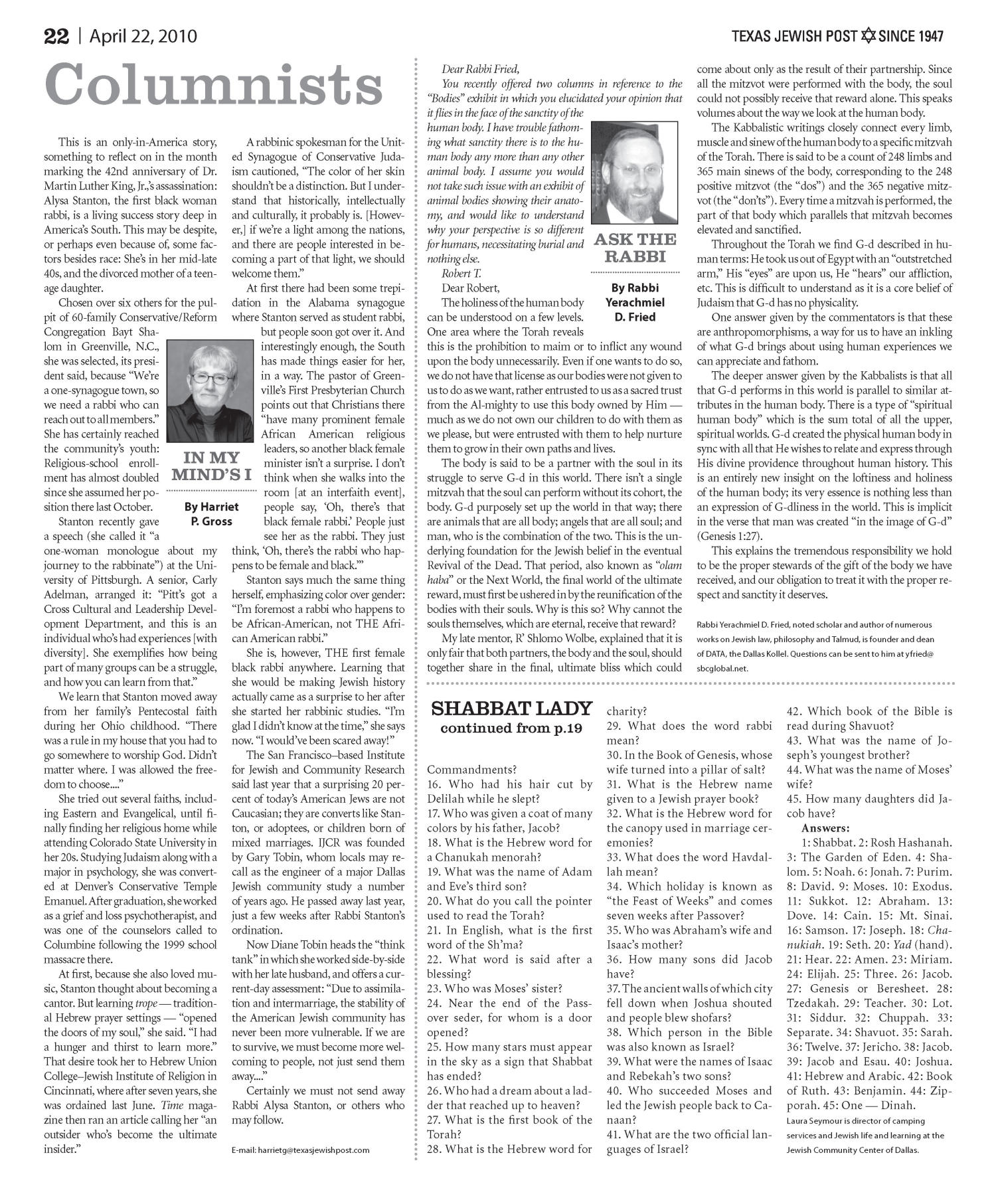 Texas Jewish Post (Fort Worth, Tex.), Vol. 64, No. 16, Ed. 1 Thursday, April 22, 2010                                                                                                      [Sequence #]: 22 of 24
