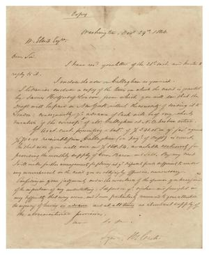 Primary view of object titled '[Letter from Hy. Castro to W. Elliot, December 29, 1844]'.