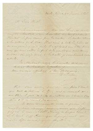 Primary view of object titled '[Letter from Henri Castro to Ferdinand Louis Huth, January 23, 1845]'.