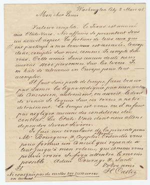 Primary view of object titled '[Letter from Henri Castro to Ferdinand Louis Huth, March 2, 1845]'.
