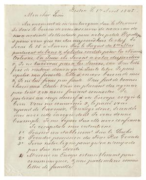 Primary view of [Letter from Henri Castro to Ferdinand Louis Huth, April 1, 1845]